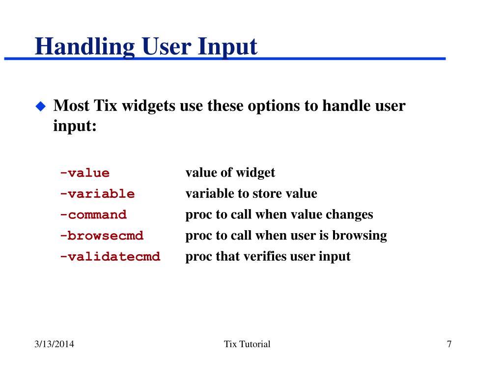 Handling User Input