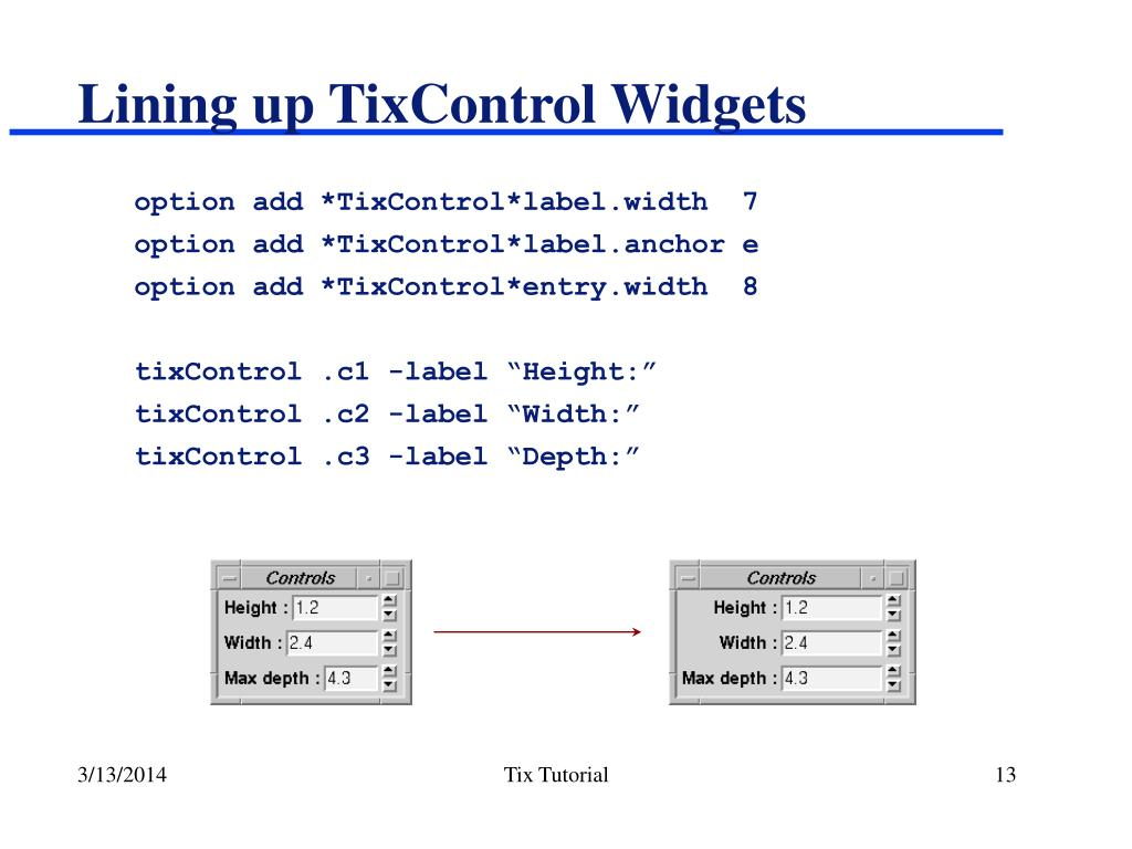Lining up TixControl Widgets