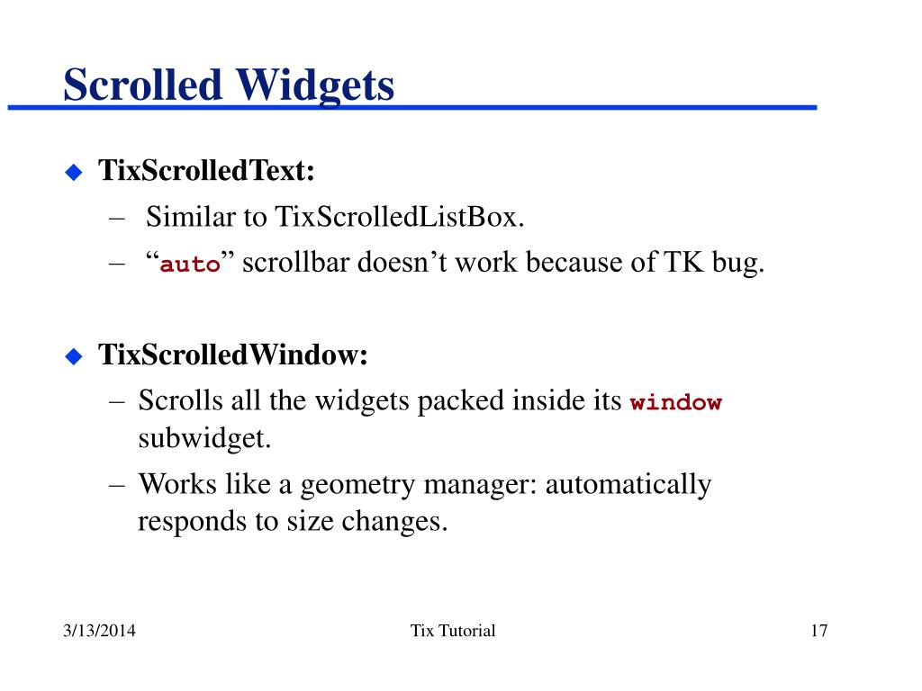 Scrolled Widgets