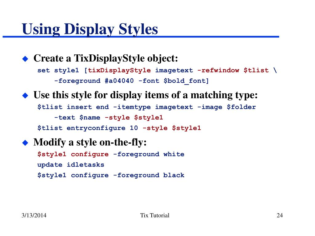 Using Display Styles