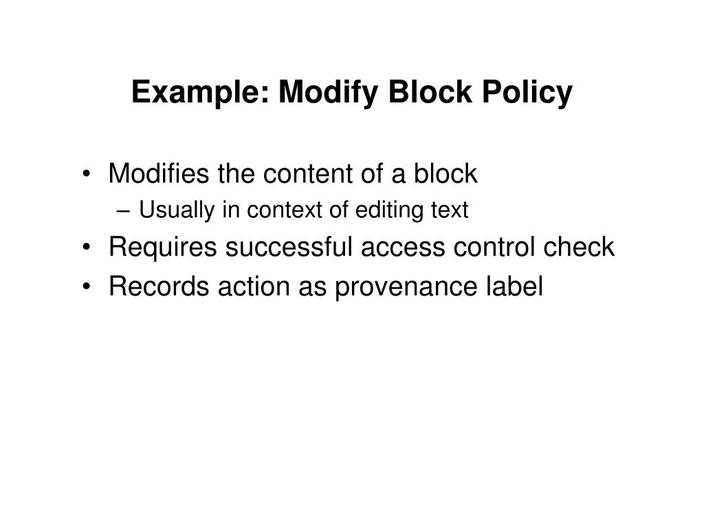 Example: Modify Block Policy