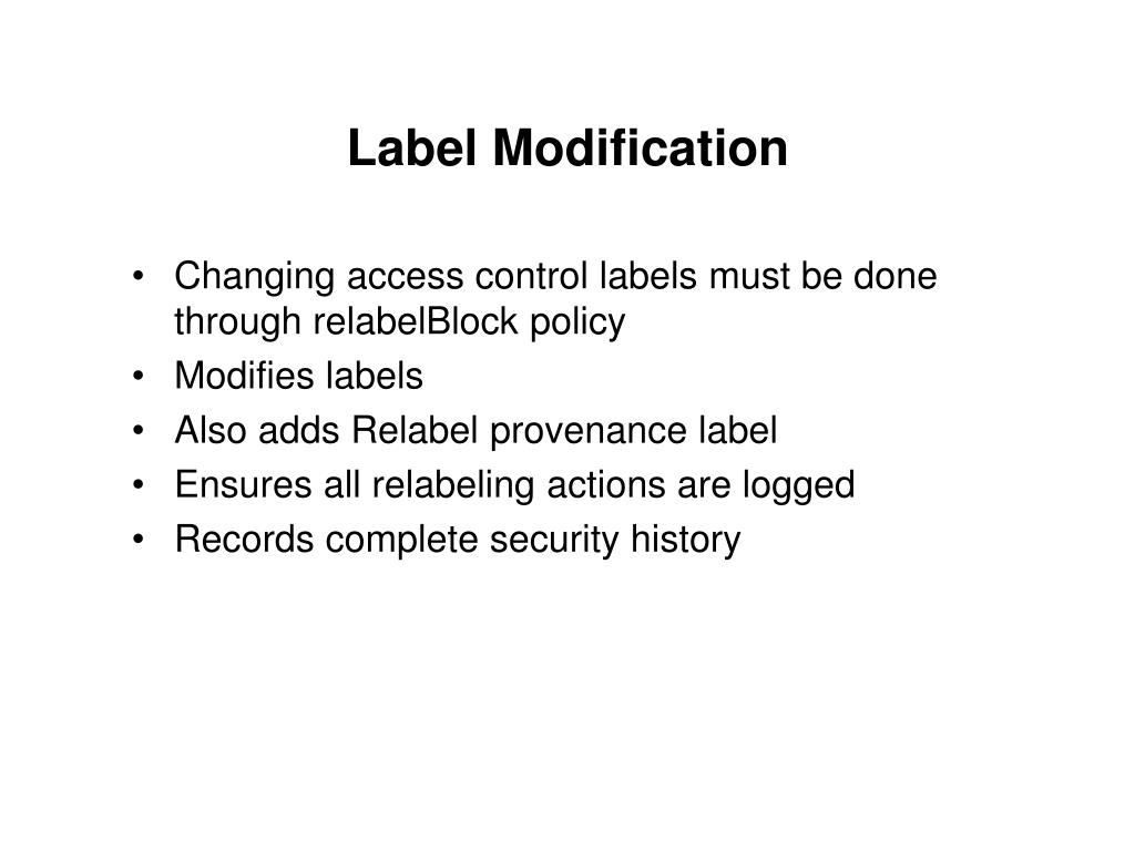 Label Modification