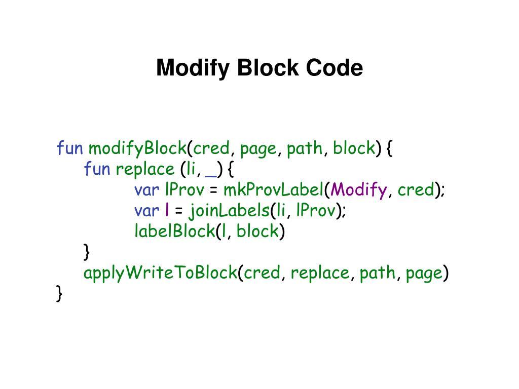 Modify Block Code