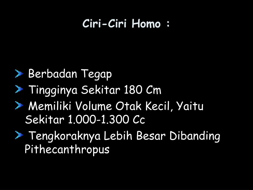 Ciri-Ciri Homo :