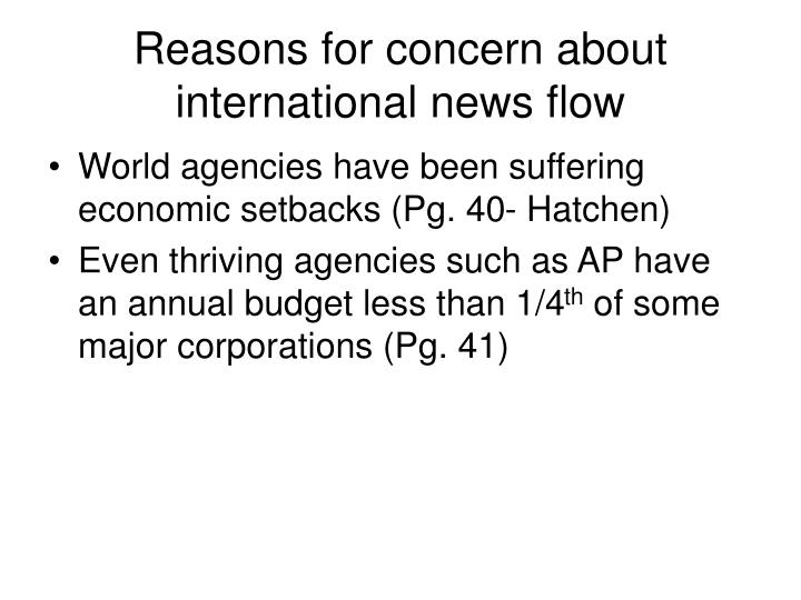 Reasons for concern about international news flow