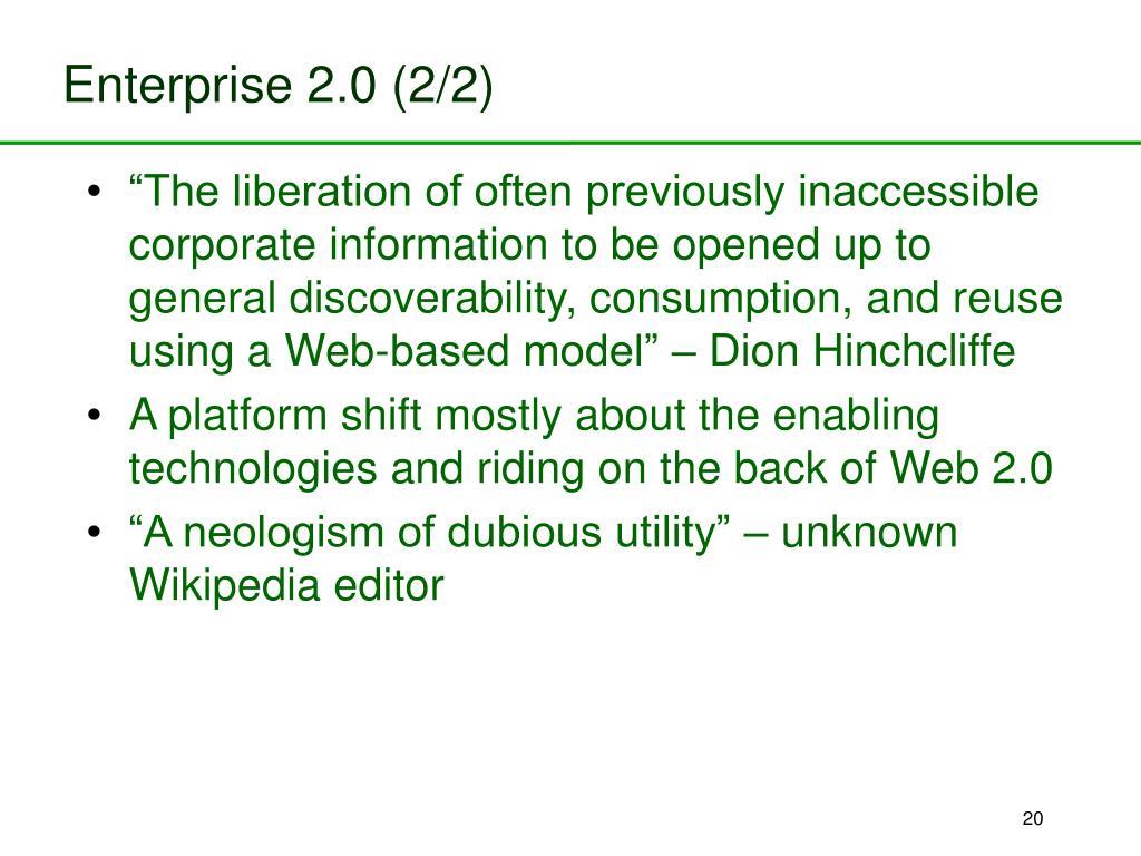 Enterprise 2.0 (2/2)