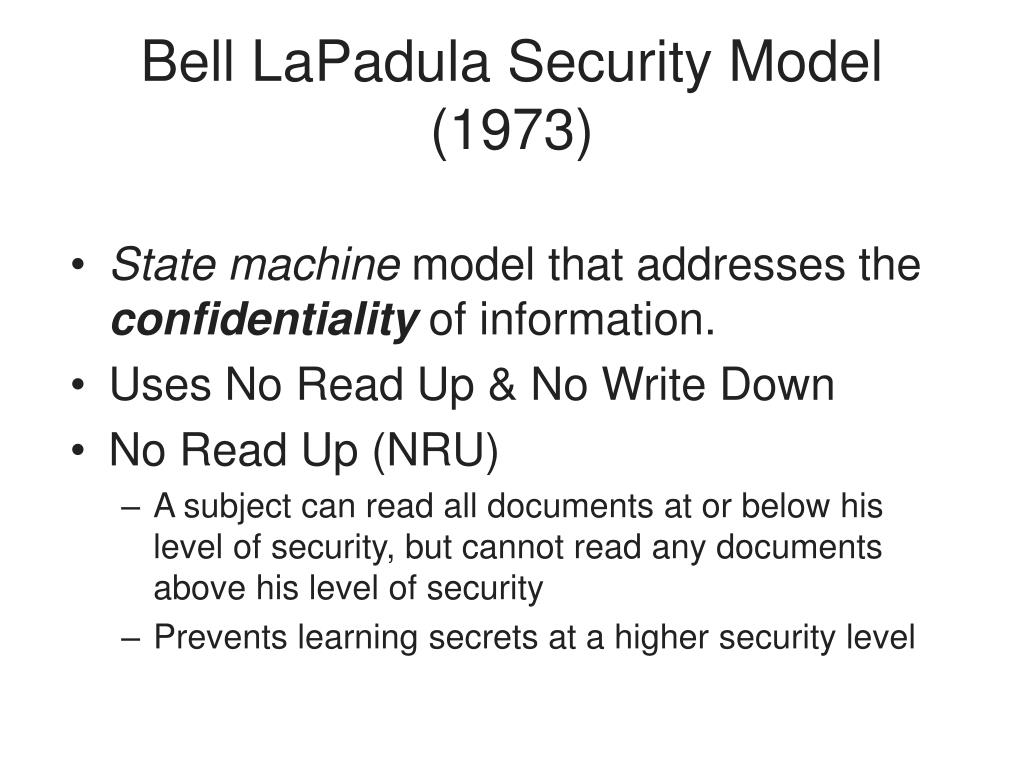 Bell LaPadula Security Model