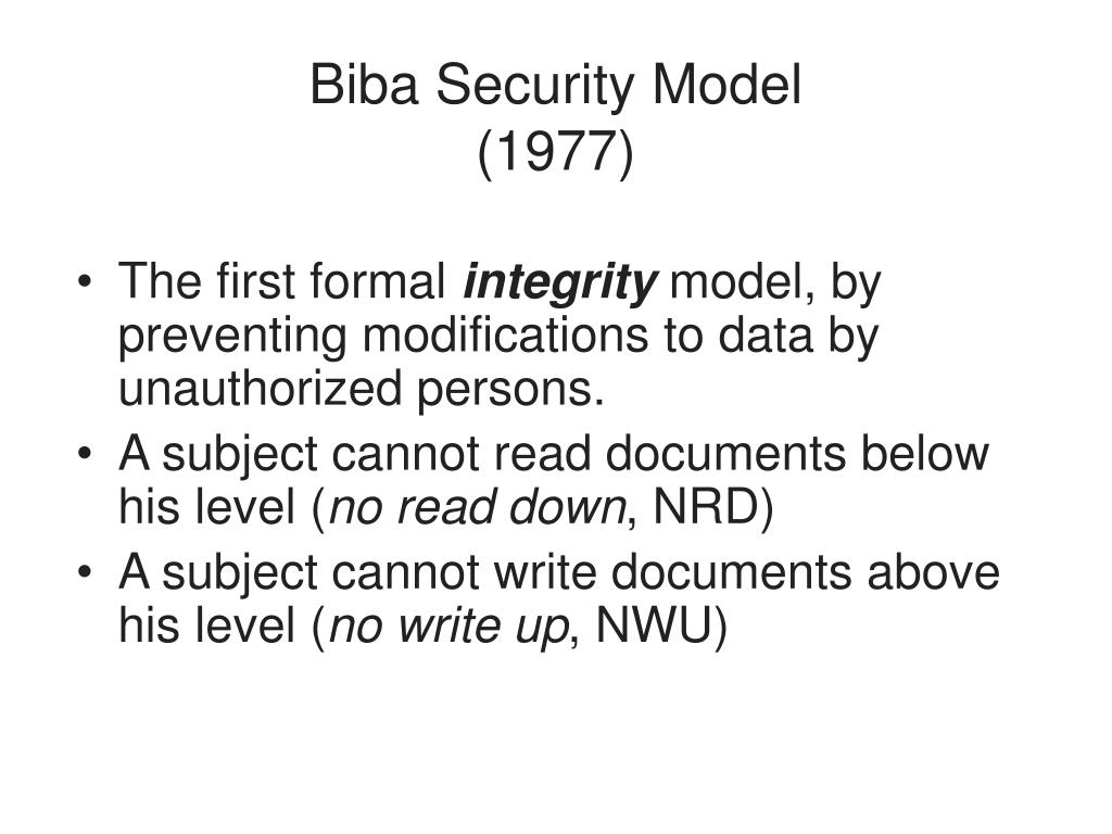 Biba Security Model