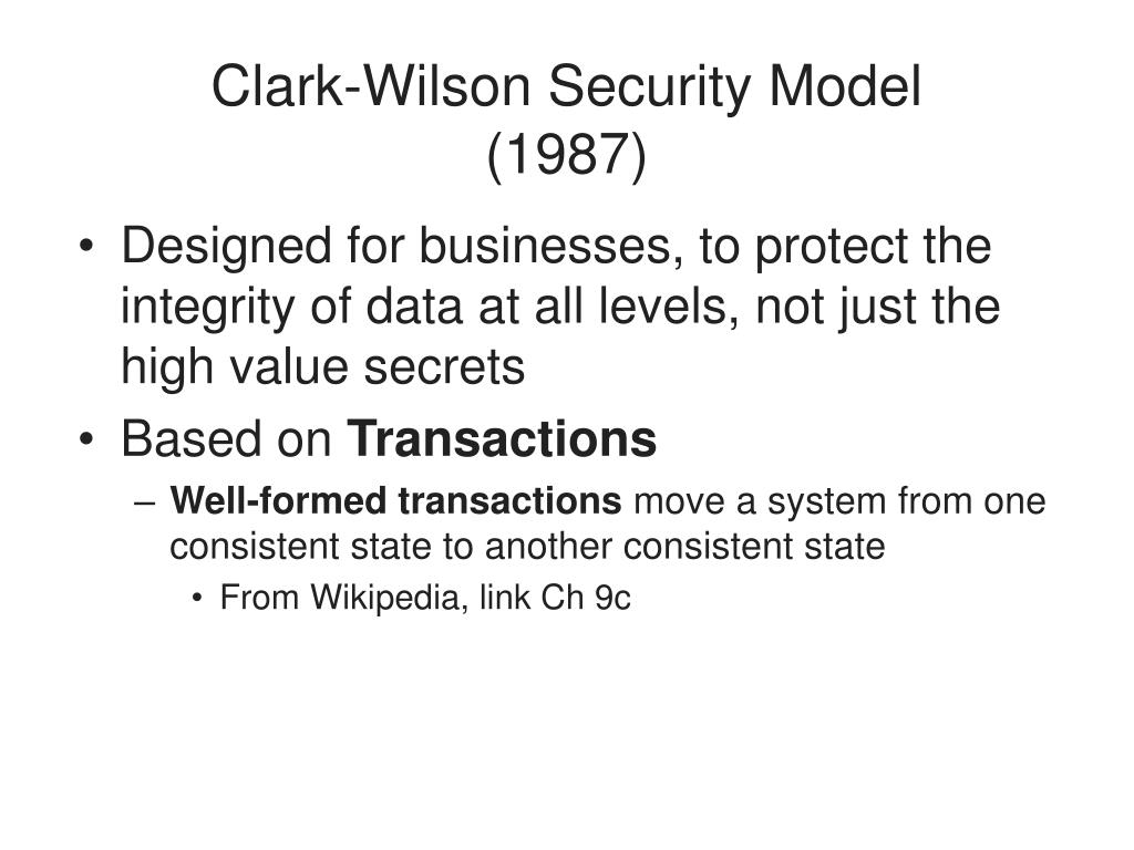 Clark-Wilson Security Model