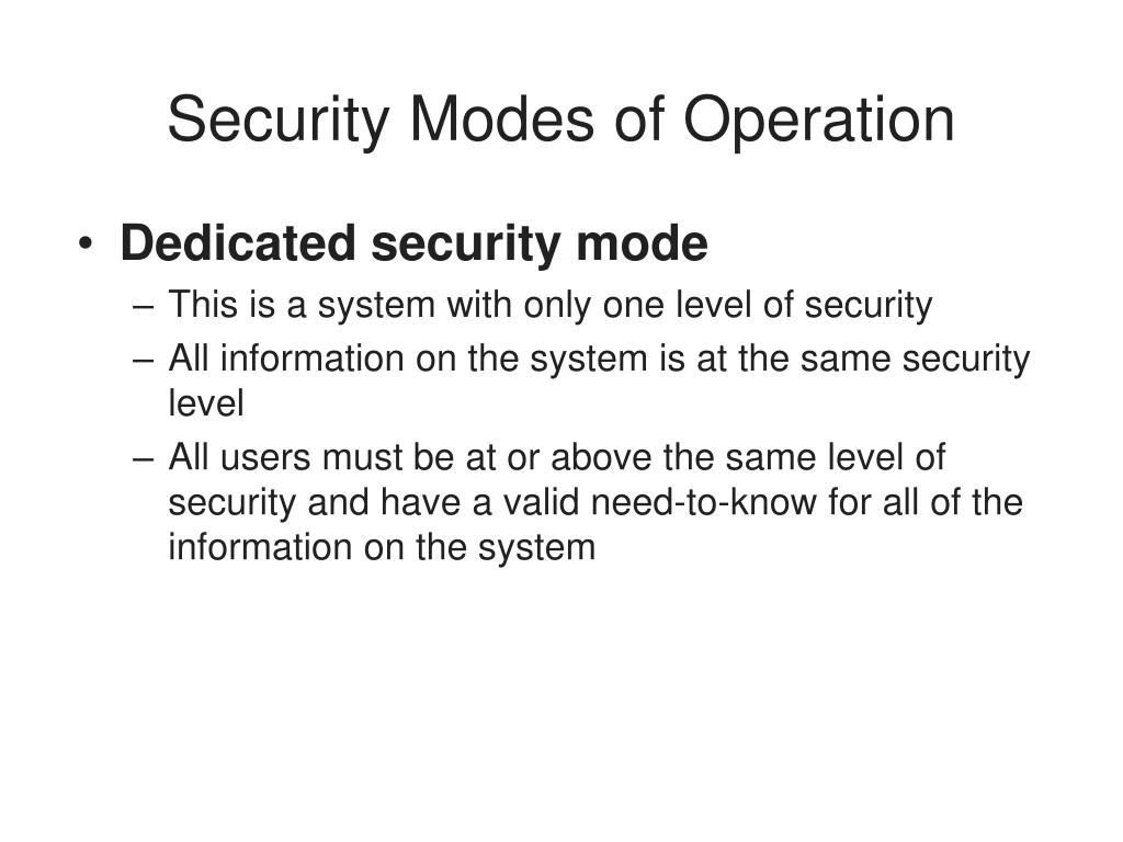 Security Modes of Operation