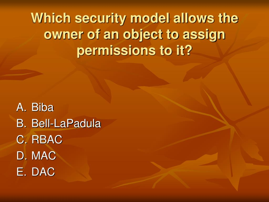 Which security model allows the owner of an object to assign permissions to it?