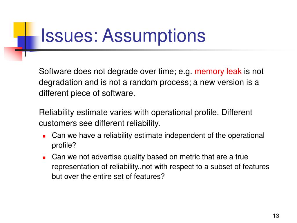 Issues: Assumptions