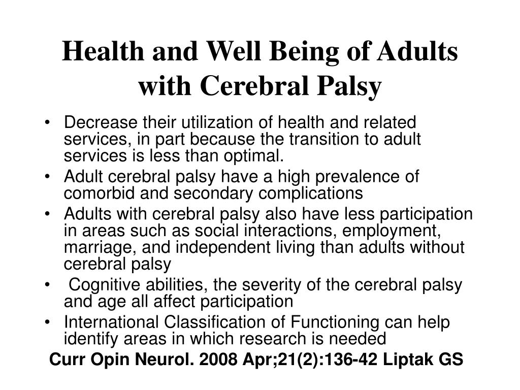 cerebral infection palsy adult and