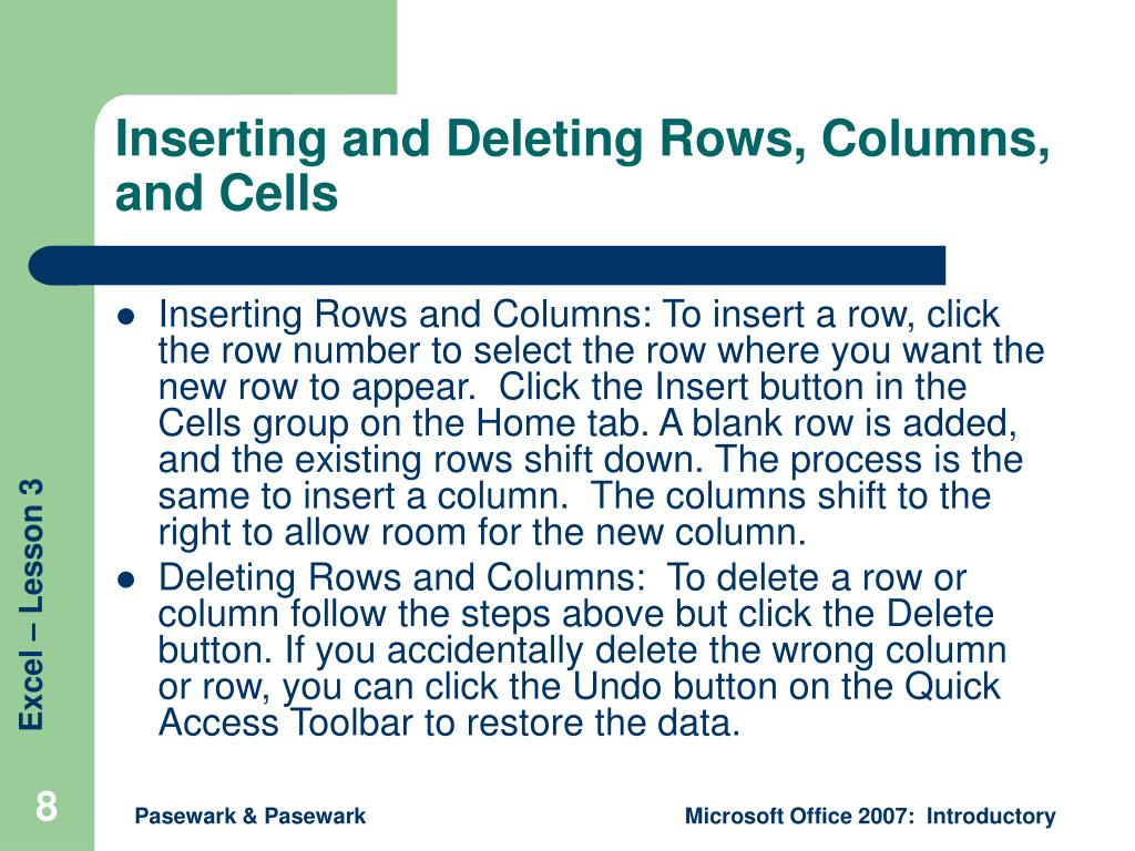 Inserting and Deleting Rows, Columns, and Cells
