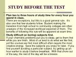 study before the test
