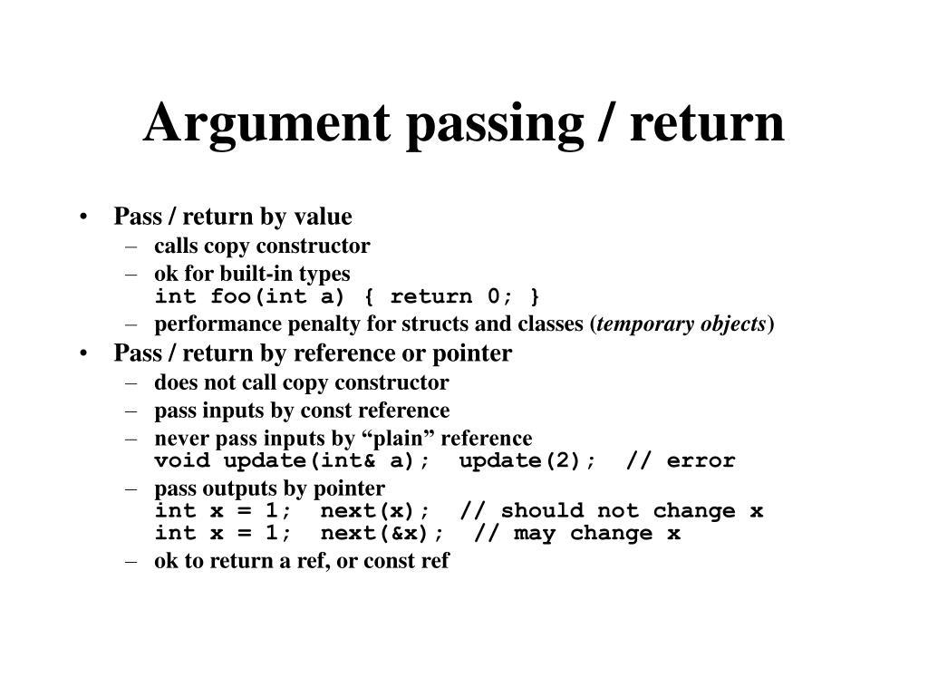 Argument passing / return