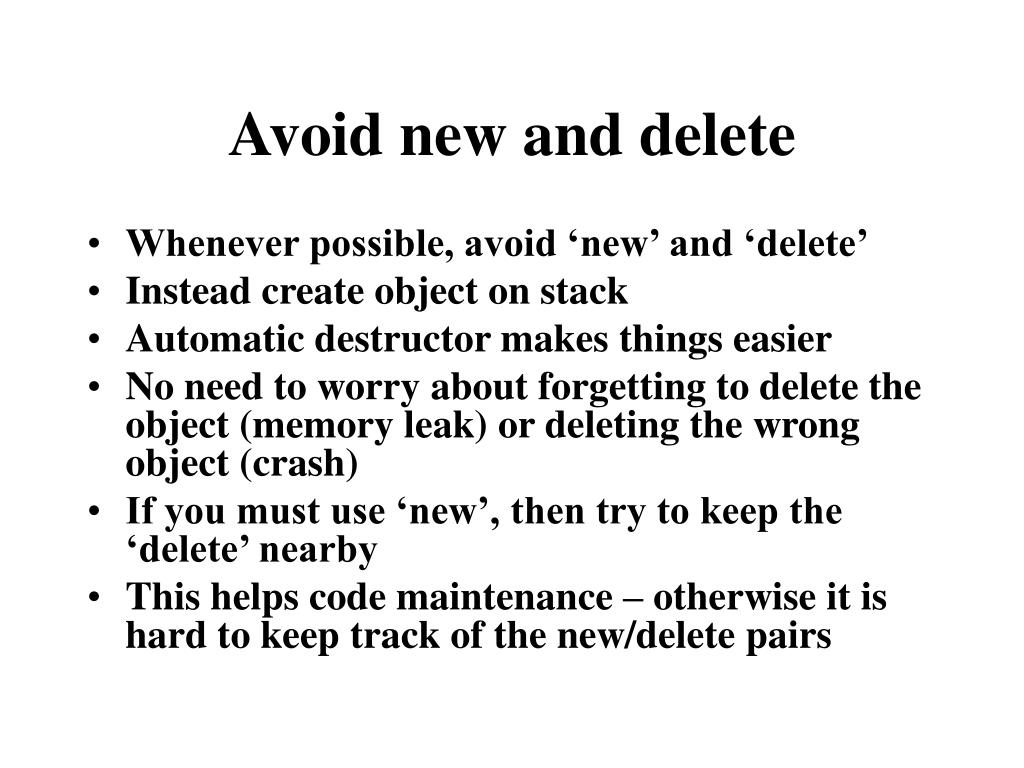 Avoid new and delete