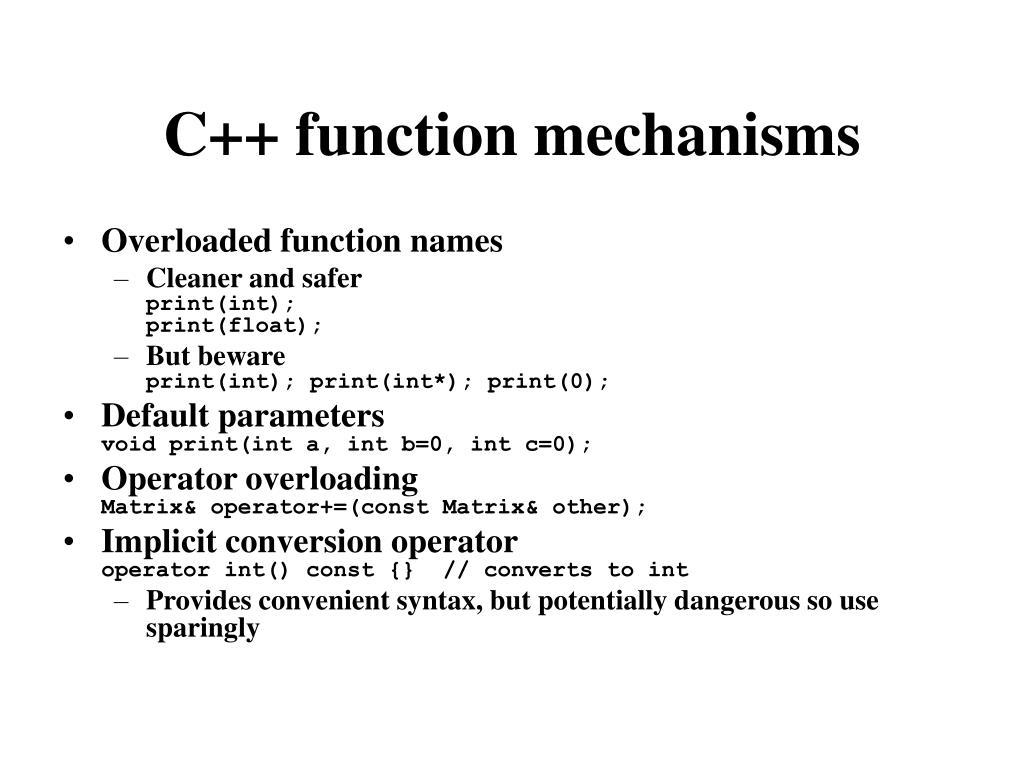 C++ function mechanisms