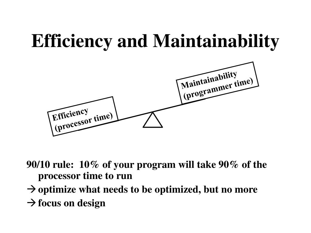 Efficiency and Maintainability
