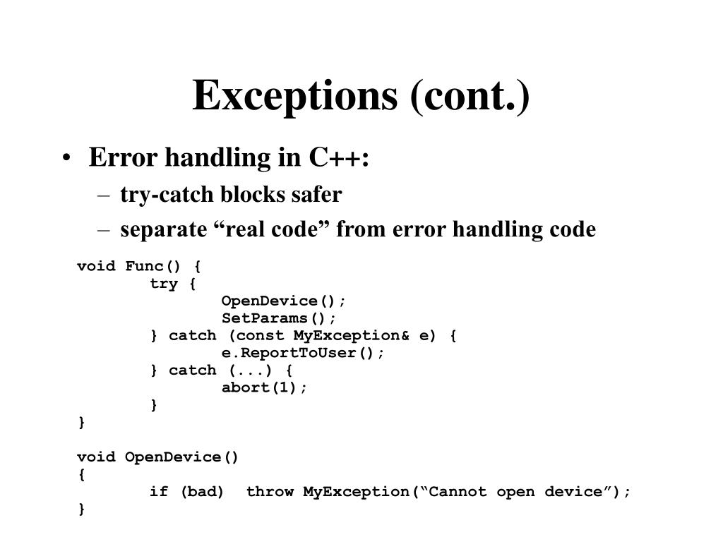 Exceptions (cont.)