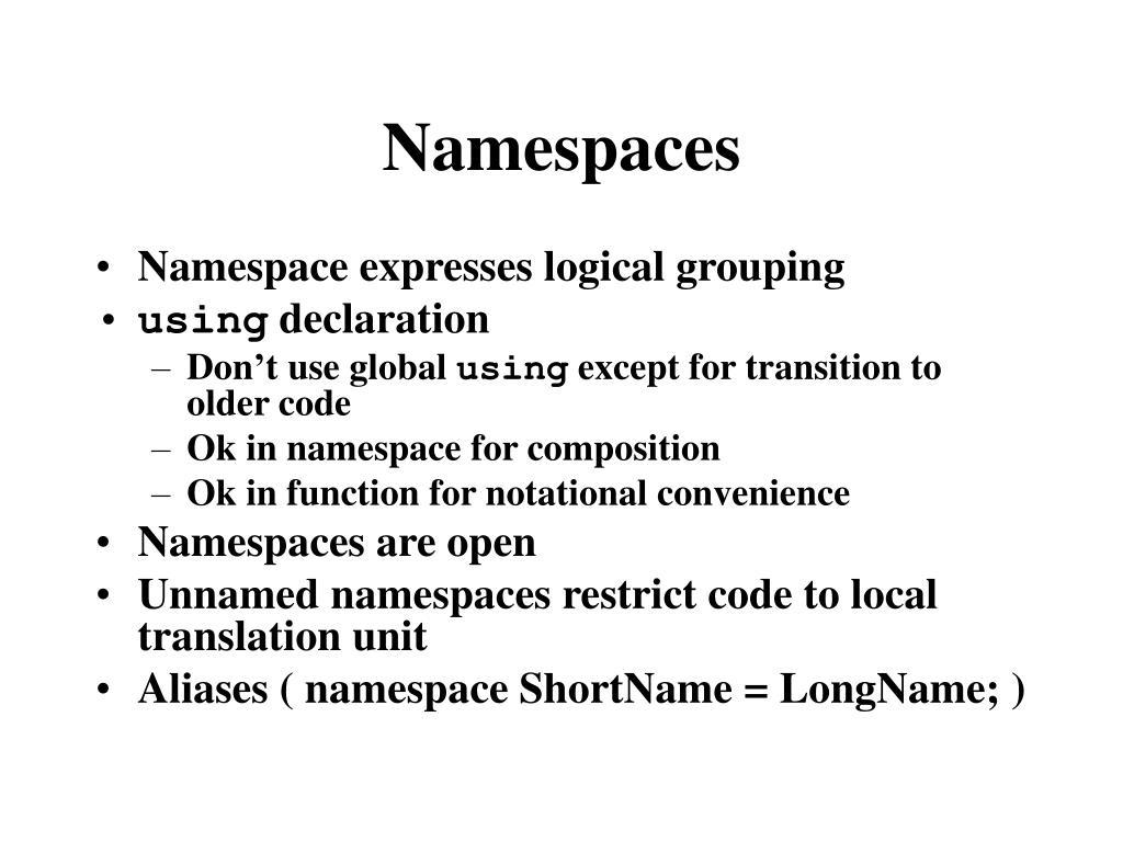 Namespaces
