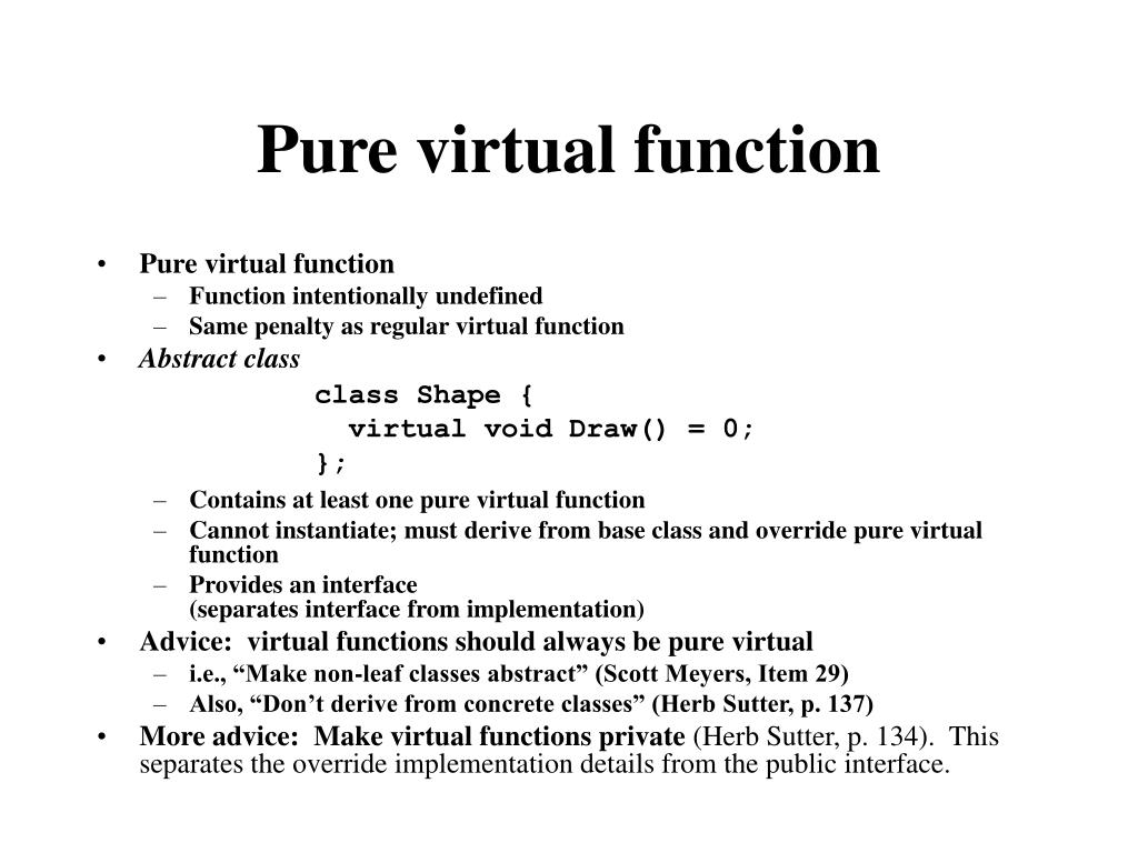 Pure virtual function