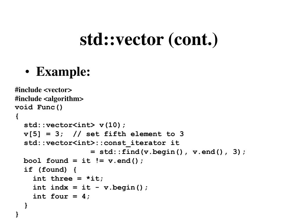 std::vector (cont.)