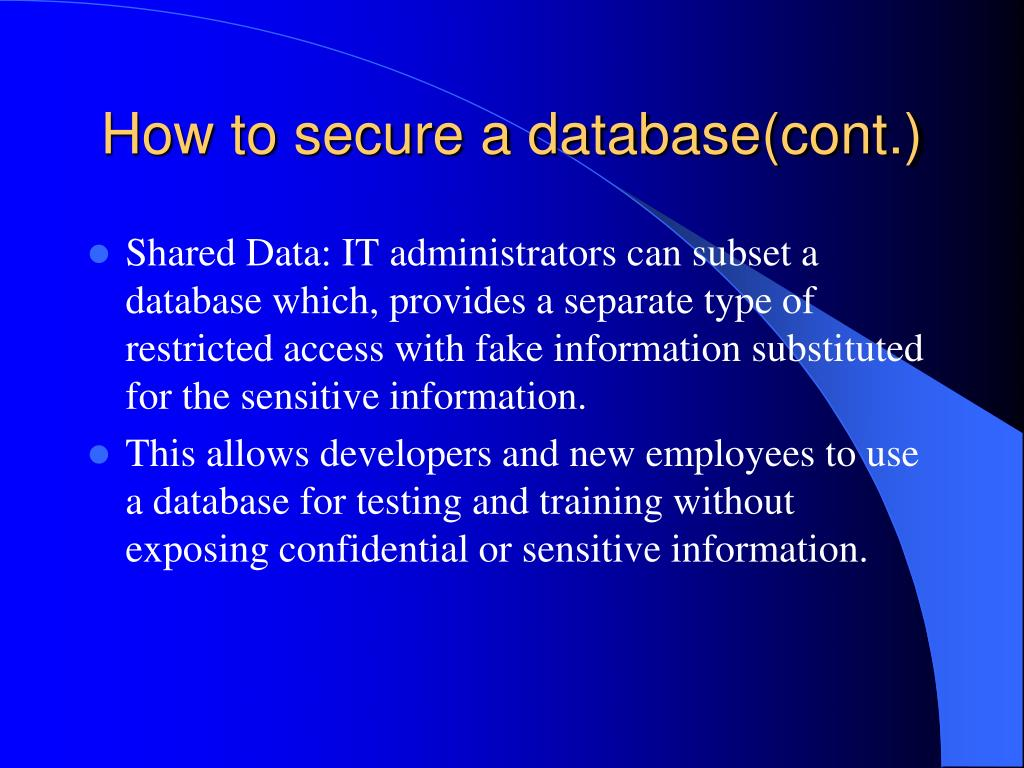 How to secure a database(cont.)