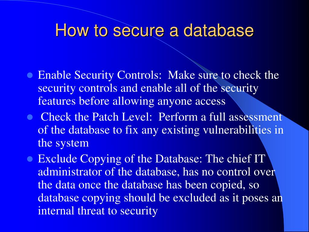 How to secure a database