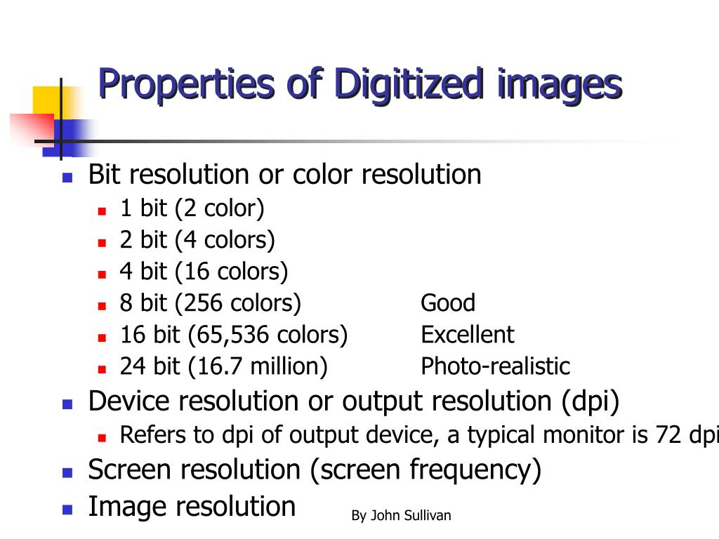 Properties of Digitized images