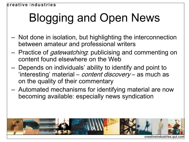 Blogging and open news