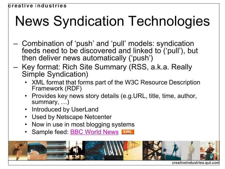 News Syndication Technologies