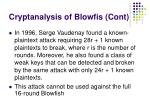 cryptanalysis of blowfi s cont