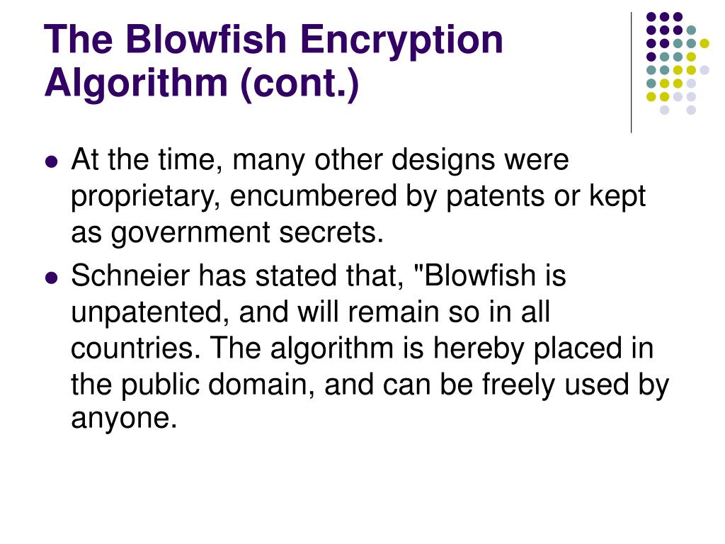 The Blowfish Encryption Algorith