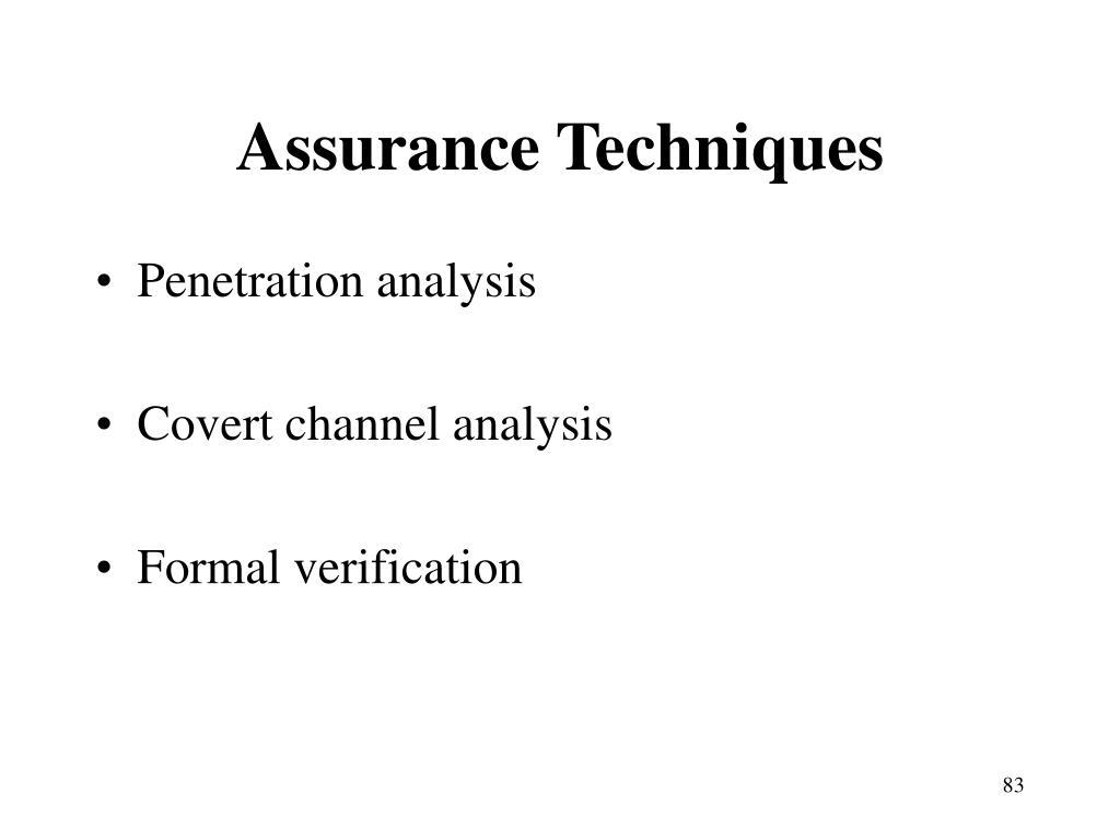 Assurance Techniques