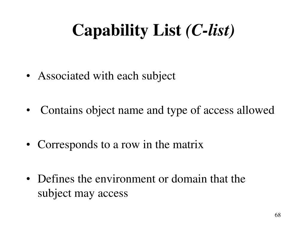 Capability List