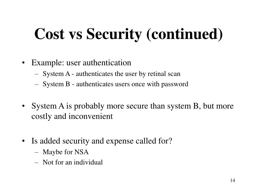 Cost vs Security (continued)