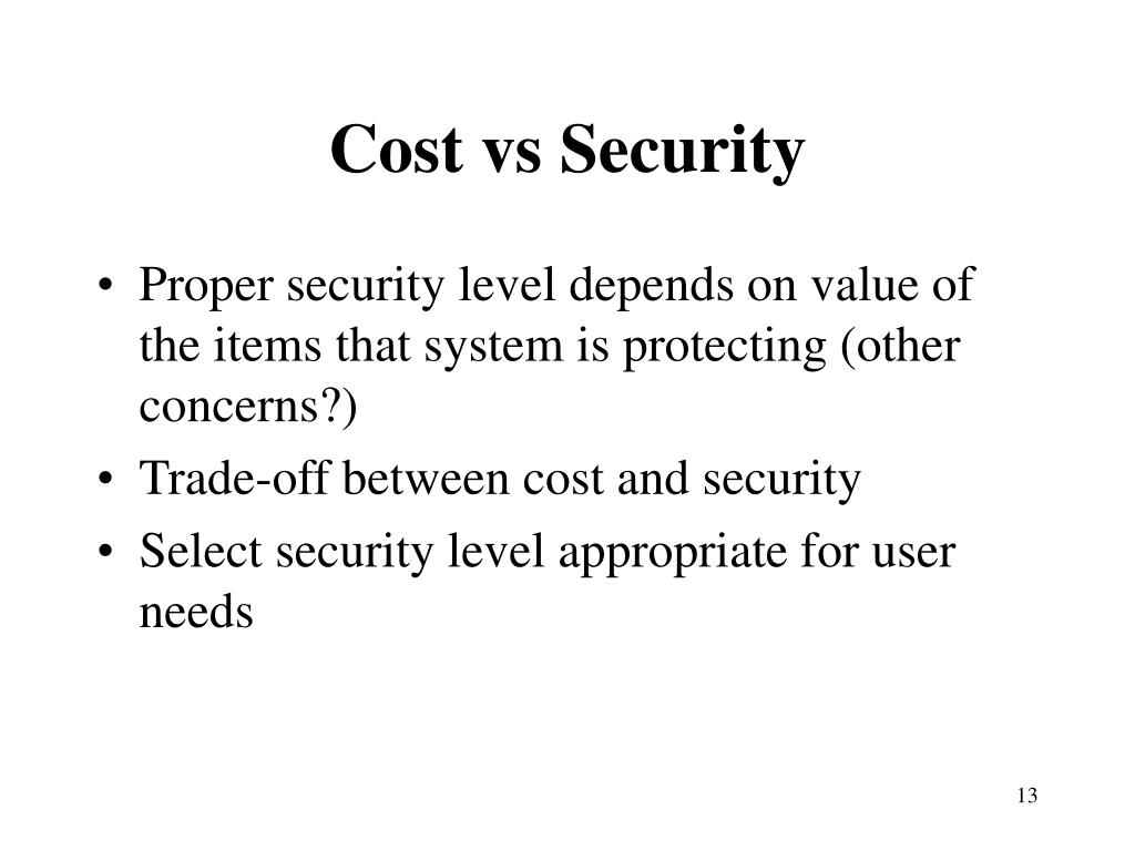 Cost vs Security