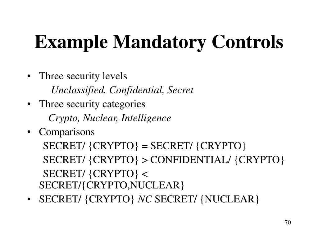 Example Mandatory Controls