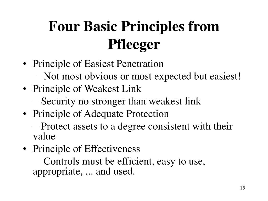 Four Basic Principles from Pfleeger