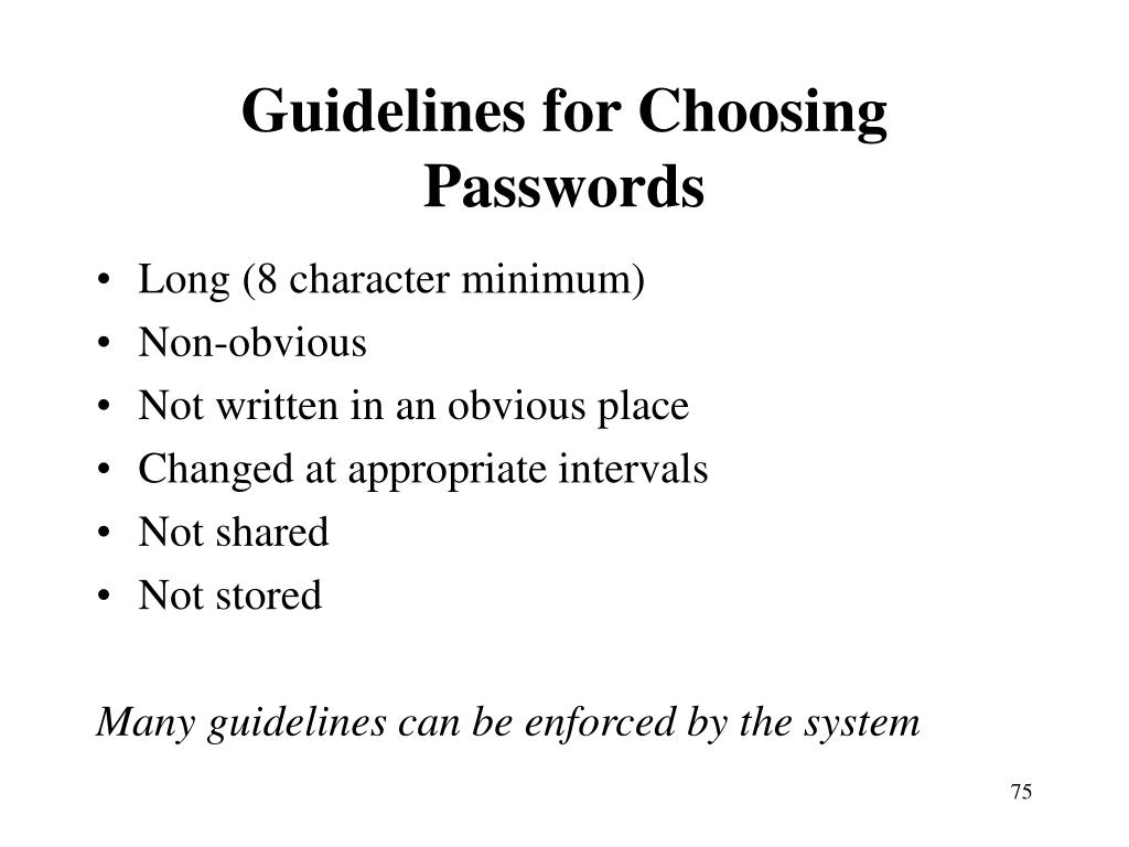 Guidelines for Choosing Passwords