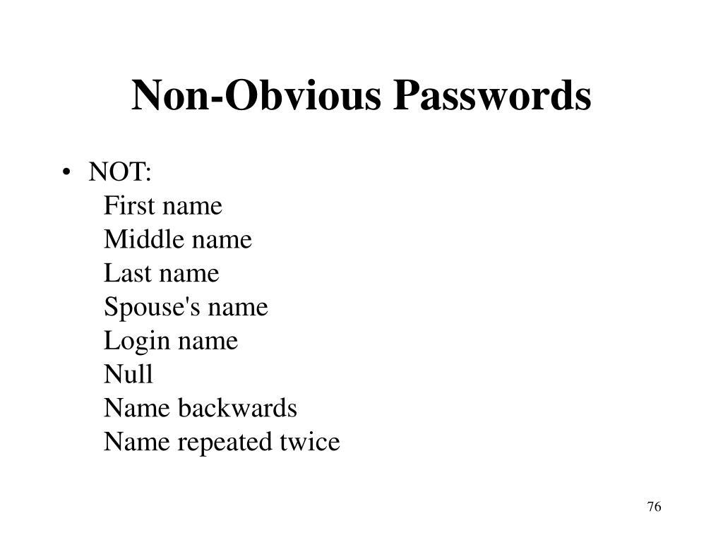 Non-Obvious Passwords