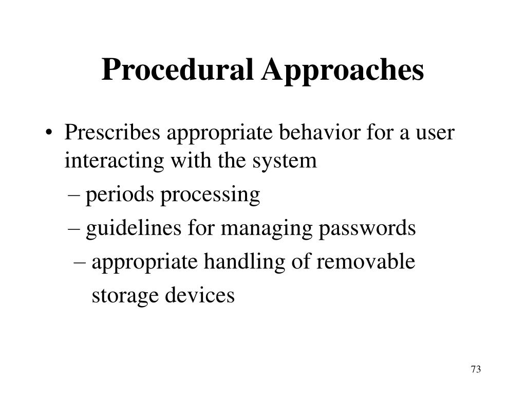 Procedural Approaches