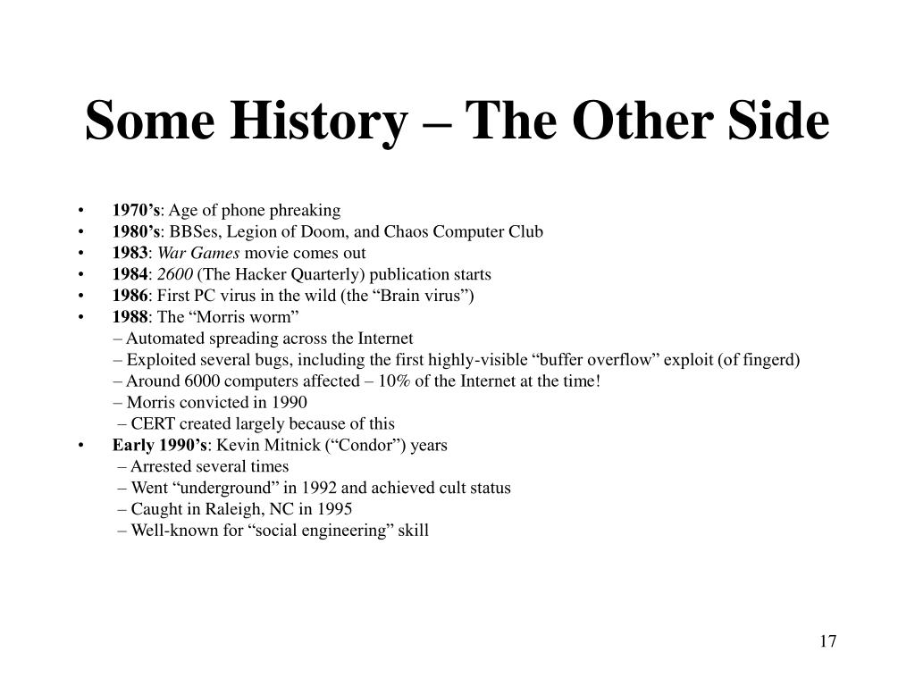 Some History – The Other Side