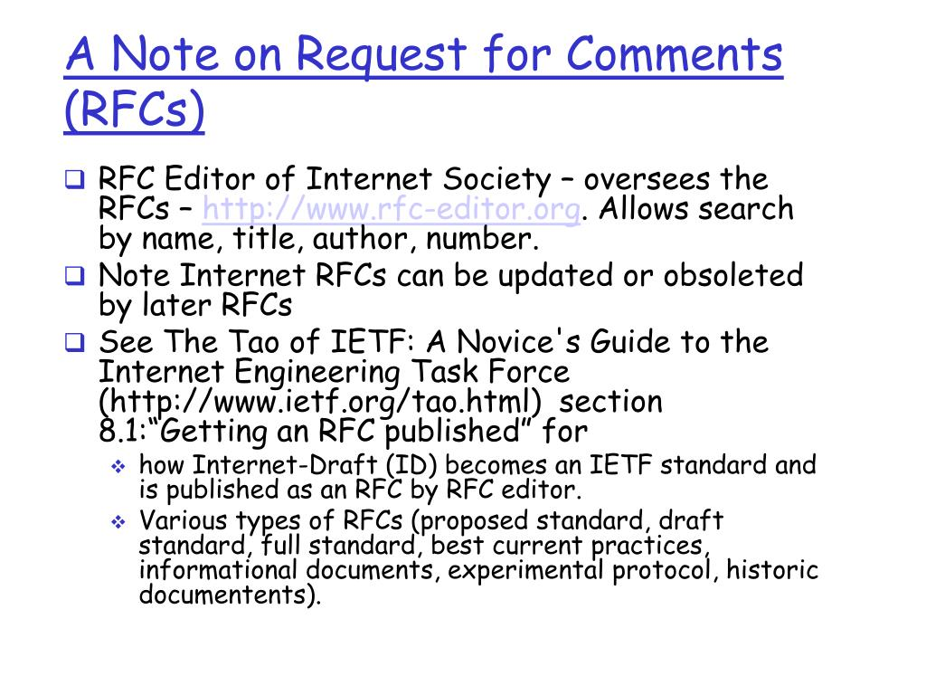 A Note on Request for Comments (RFCs)