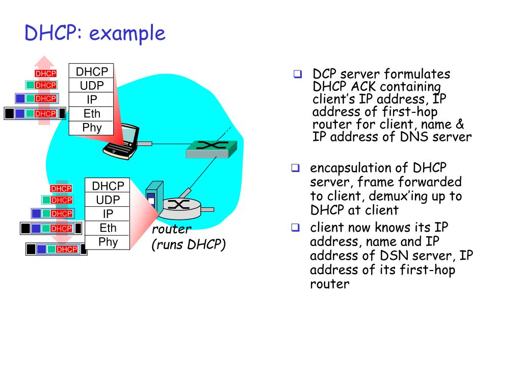 DCP server formulates DHCP ACK containing client's IP address, IP address of first-hop router for client, name & IP address of DNS server