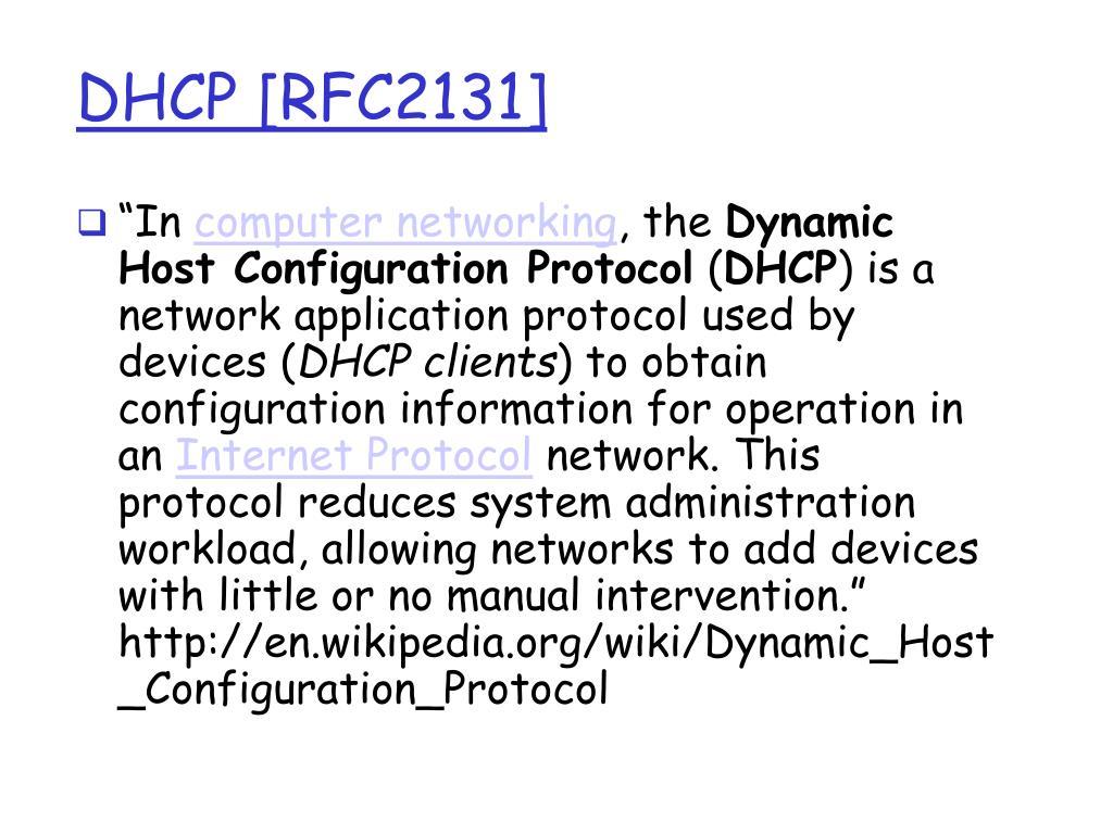 DHCP [RFC2131]