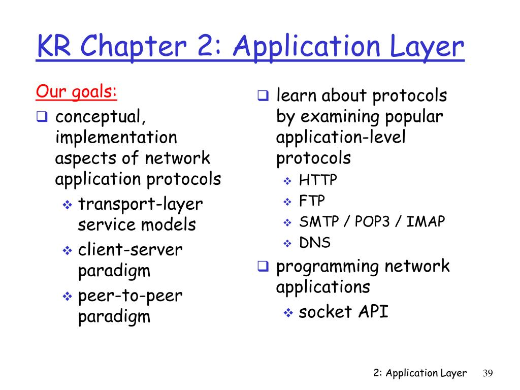 KR Chapter 2: Application Layer