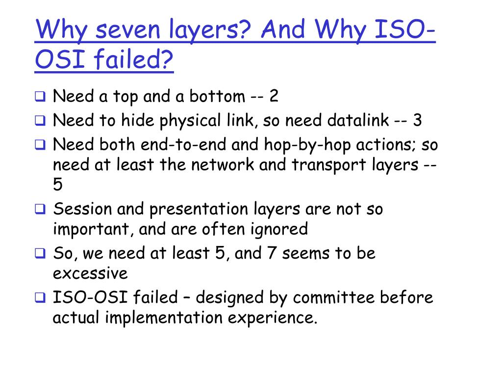 Why seven layers? And Why ISO-OSI failed?