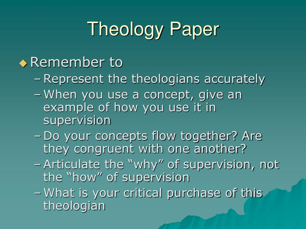 Theology term papers